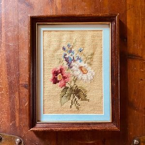 Vintage Needlepoint Flower Frame Handmade